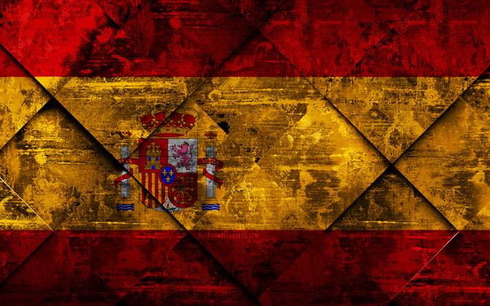 Flag of Spain, grunge art, rhombus grunge texture, Spanish flag, Europe, national symbols, Spain, creative art