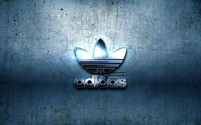 Adidas metal logo, blue metal background, artwork, Adidas, brands, Adidas 3D logo, creative, Adidas logo