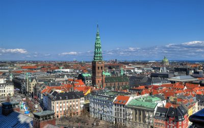 City Hall Square, Copenhagen, chapel, old architecture, landmark, Denmark, capital
