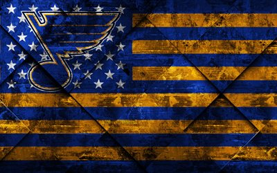 St Louis Blues, 4k, American hockey club, grunge art, rhombus grunge texture, American flag, NHL, St Louis, Missouri, USA, National Hockey League, USA flag, hockey