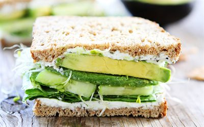 sandwich with avocado, healthy food, lettuce leaves, avocado, sandwich, weight loss concepts