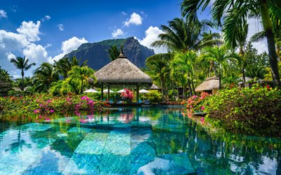 Mauritius, tropical island, mountain landscape, palm trees, luxury hotel, swimming pool