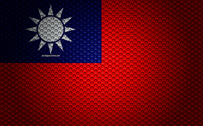 Flag of Taiwan, 4k, creative art, metal mesh texture, Taiwan flag, national symbol, Taiwan, Asia, flags of Asian countries