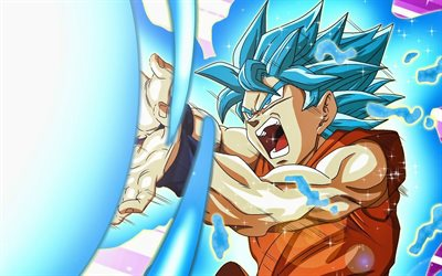 Super Saiyan Blue, kamehameha, Son Goku, 2019, battle, Goku SSB, DBS characters, artwork, DBS, Super Saiyan God, anger goku, Dragon Ball Super, manga, Dragon Ball, Goku