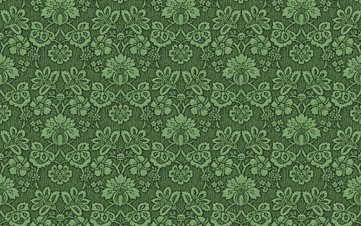 Scarica Sfondi Sfondo Verde Con Ornamenti Floreali In Maglia Verde