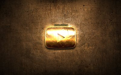 Youtube golden button, artwork, brown metal background, Youtube golden logo, creative, Youtube logo, brands, Youtube