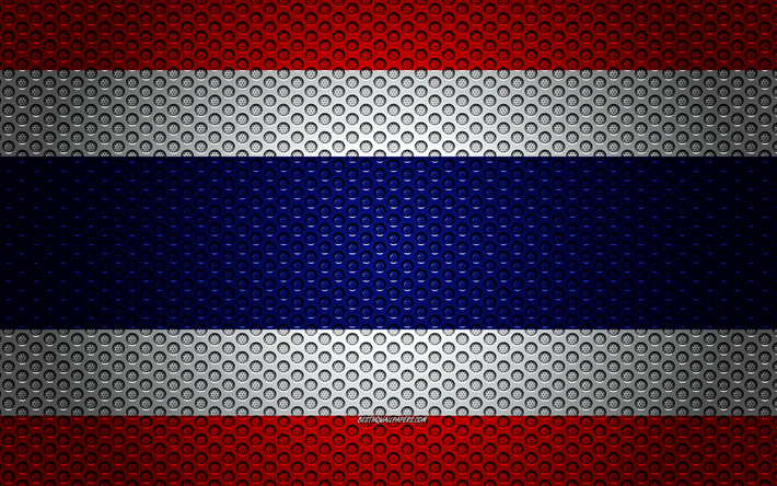 Flag of Thailand, 4k, creative art, metal mesh texture, Thailand flag, national symbol, Thailand, Asia, flags of Asian countries