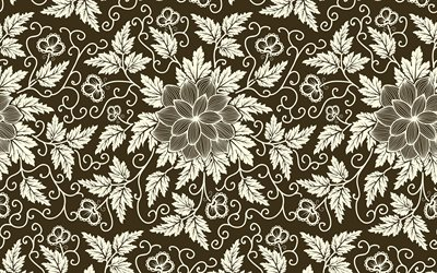 brown floral texture, floral patterns, decorative art, flowers, floral ornament, background with flowers, floral textures