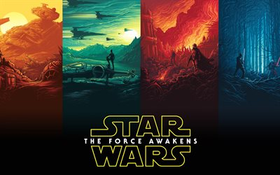 star wars, the force awakens, episode, vii, poster, kunst, promo