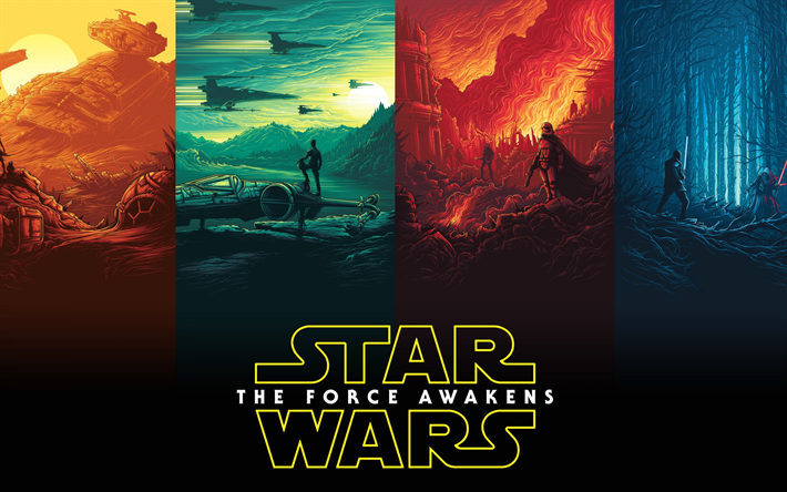 Star Wars, The Force Awakens, Episode VII, poster, creative art, promo