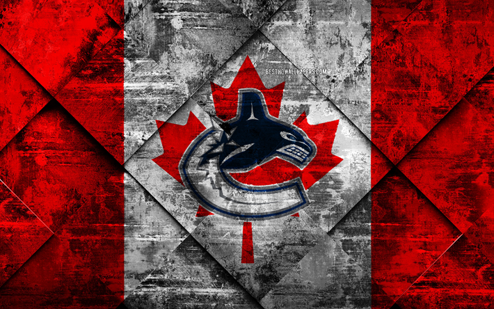 Vancouver Canucks, 4k, Canadian hockey club, grunge art, grunge texture, American flag, NHL, Vancouver, British Columbia, Canada, USA, National Hockey League, Canadian flag, hockey