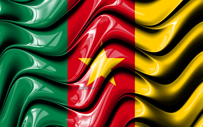Cameroon flag, 4k, Africa, national symbols, Flag of Cameroon, 3D art, Cameroon, African countries, Cameroon 3D flag
