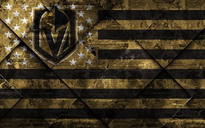 Vegas Golden Knights, 4k, American hockey club, grunge art, rhombus grunge tekstuuri, Amerikan lippu, NHL, Nevada, USA, National Hockey League, USA lippu, jääkiekko