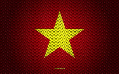 Flag of Vietnam, 4k, creative art, metal mesh texture, Vietnamese flag, national symbol, Vietnam, Asia, flags of Asian countries