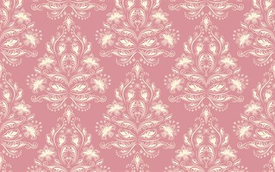 vintage pink texture, retro flower texture, pink retro background, seamless floral texture, background with ornaments, retro, vintage