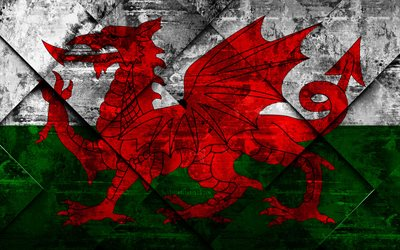 Flag of Wales, grunge art, rhombus grunge texture, Wales flag, Europe, national symbols, Wales, creative art
