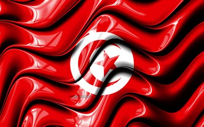 Tunisian flag, 4k, Africa, national symbols, Flag of Tunisia, 3D art, Tunisia, African countries, Tunisia 3D flag