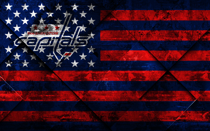 Washington Capitals, 4k, American hockey club, grunge art, rhombus grunge texture, American flag, NHL, Washington, USA, National Hockey League, USA flag, hockey
