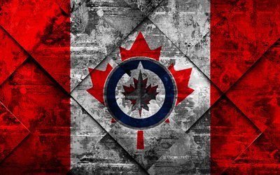 Winnipeg Jets, 4k, Canadian hockey club, grunge art, rhombus grunge tekstuuri, Amerikan lippu, NHL, Winnipeg, Manitoba, Kanada, USA, National Hockey League, Kanadan lippu, jääkiekko