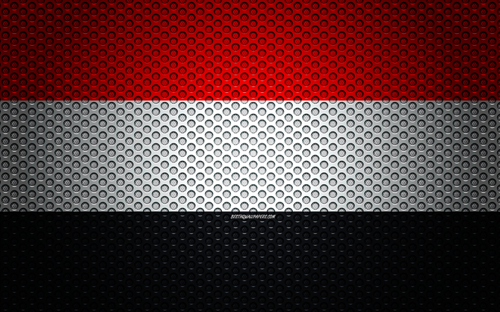 Flag of Yemen, 4k, creative art, metal mesh texture, Yemen flag, national symbol, Yemen, Asia, flags of Asian countries