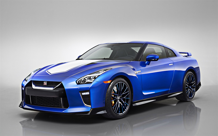 2020, Nissan GT-R, 50th Anniversary, front view, exterior, new blue, blue sports coupe, Japanese sports cars, Nissan