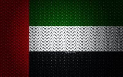 Flag of United Arab Emirates, 4k, creative art, metal mesh texture, UAE flag, national symbol, United Arab Emirates, Asia, flags of Asian countries