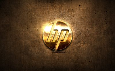 HP golden logo, artwork, brown metal background, Hewlett-Packard, creative, HP logo, brands, HP