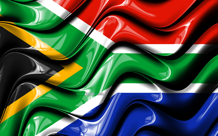 South African flag, 4k, Africa, national symbols, Flag of South Africa, 3D art, South Africa, African countries, South Africa 3D flag