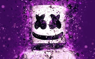 Christopher Comstock, 4k, DJ Marshmello, violet background, american DJ, Marshmello 4k, violet neon, creative, Marshmello DJ, superstars, Marshmello, DJs