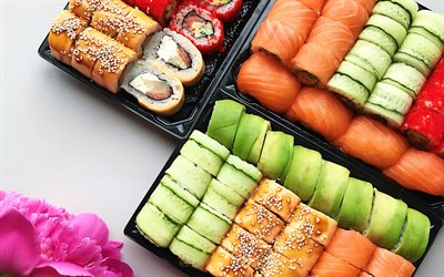 sushi set, rolls with salmon, gunkan, nagiri, uramaki, sushi, asian food, bokeh, fastfood