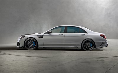 Мercedes-Benz S-Class, W222, side view, tuning W222, Mansory, Signature Edition, luxury sedan, new gray S-Class, black wheels, blue calipers, Мercedes