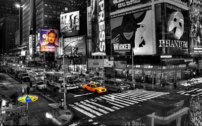 New York, monochrome, yellow taxi, black and white, Times Square, Manhattan, USA