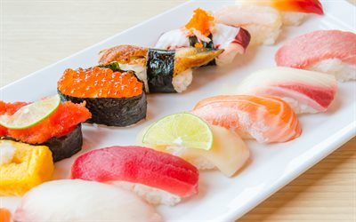 sushi set, nagiri, sushi, asian food, bokeh, fastfood, nigiri set