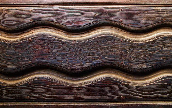 wooden waves patterns, 4k, wooden wavy textures, wooden backgrounds, wooden textures, background with waves, wooden waves