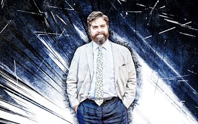 4k, Zach Galifianakis, grunge konst, amerikansk skådespelare, filmstjärnor, amerikansk kändis, Zachary Knight Galifianakis, blå abstrakt strålar, Zach Galifianakis 4K