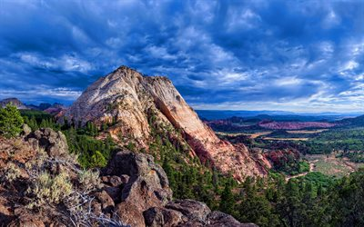 Zion National Park, 4k, cliffs, mountains, USA, HDR, american landmarks, America, beautiful nature, desert