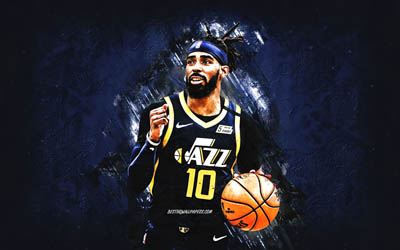 Mike Conley, Utah Jazz, NBA, American basketball player, blue stone background, USA, basketball