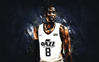 Miye Oni, Utah Jazz, NBA, American basketball player, blue stone background, USA, basketball, Olumiye Oni