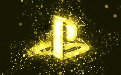 PlayStation yellow logo, 4k, yellow neon lights, creative, yellow abstract background, PlayStation logo, PlayStation