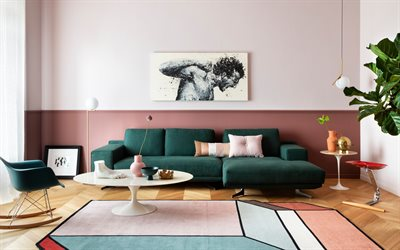 stylish living room design, modern interior design, green sofa in the living room, pink walls in the living room, retro style interior