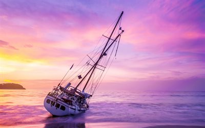 sailboat, sunset, seascape, white yacht, pink clouds