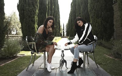 Kylie Jenner, Kendall Jenner, American models, photoshoot, park, beautiful young women, fashion models, sisters