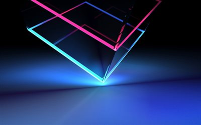 glass cube, bright neon lines, backlight, stock wallpaper, HTC U12 Plus