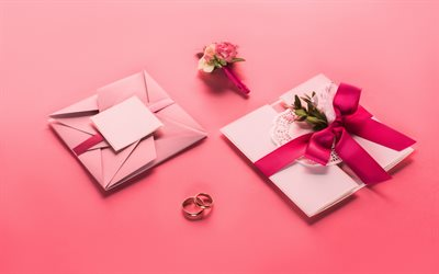 wedding invitation, pink background, wedding concepts, original design, wedding rings, pink silk bow