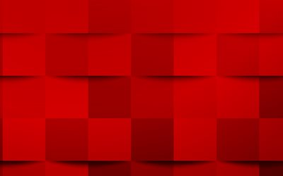 Red 3d squares texture, Red creative texture, Red 3d abstraction, Red 3d background, Red mosaic texture