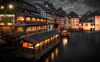 Strasbourg, nightscapes, french cities, water channel, France, Europe