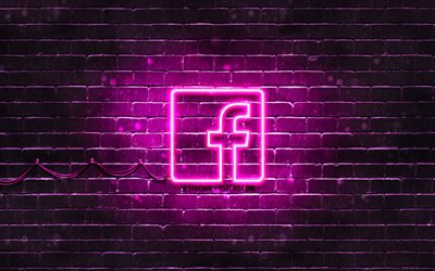 Facebook purple logo, 4k, purple brickwall, Facebook logo, social networks, Facebook neon logo, Facebook