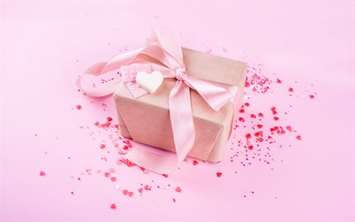 gift box with pink bow, pink background, pink silk bow, gifts concepts, red hearts
