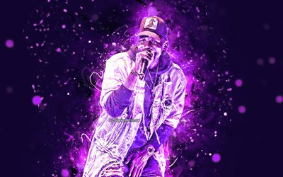 Wretch 32, 4k, english rapper, music stars, concert, Jermaine Scott Sinclair, american celebrity, Wretch 32 with microphone, violet neon lights, creative, Wretch 32 4K