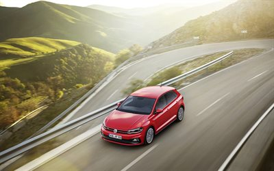 Volkswagen Polo GTI, 2018, Red polo, mountain serpentine, German cars, Volkswagen